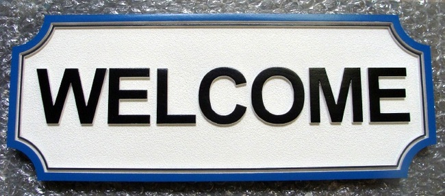 """SA28747 -Carved  Black and White  """"Welcome"""" Sign"""