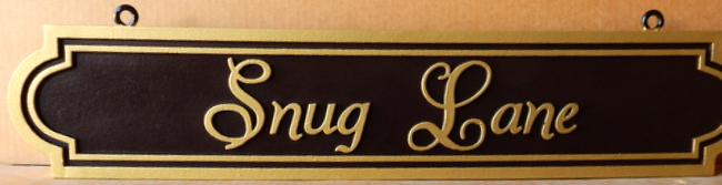 M17063 - Elegant Carved HDU Hanging Street Name Sign, Snug Way
