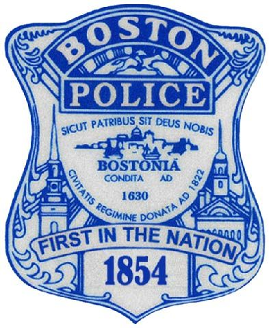 X33614 - Boston Police Badge Carved Wood Plaque