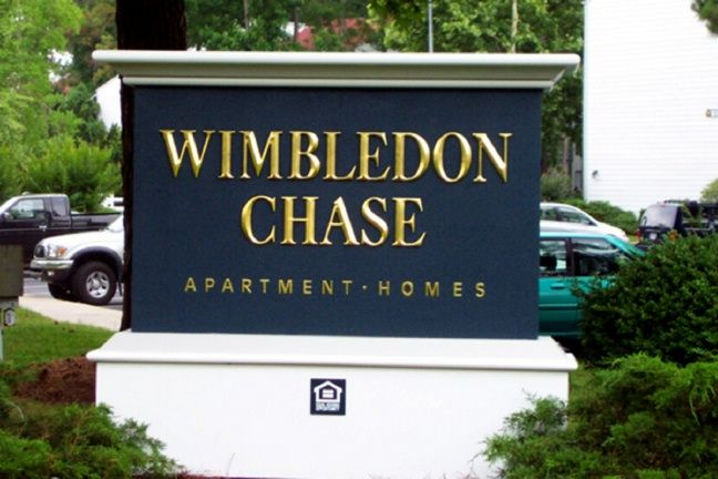 "K20068 - ""Wimbledon Chase"" Apartment Homes Entrance EPS Monument Sign, with 24K Gold Leafed Text"