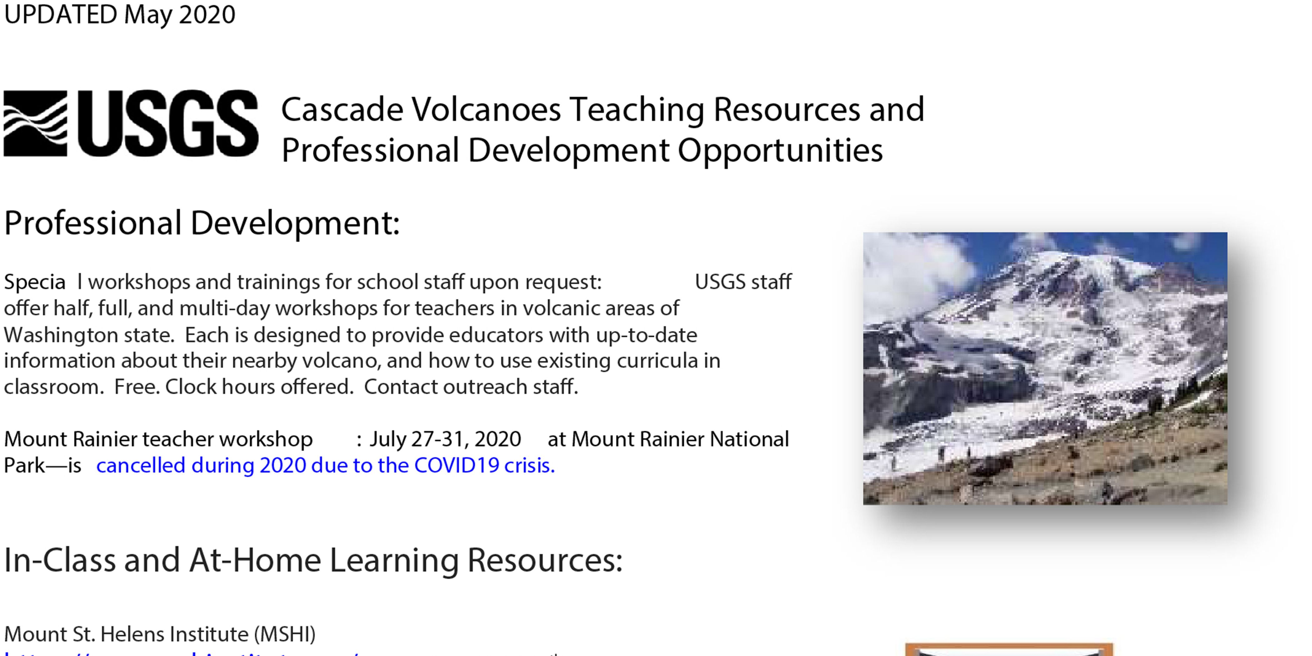 USGS Cascade Volcanoes Teaching Resources and Professional Development Opportunities