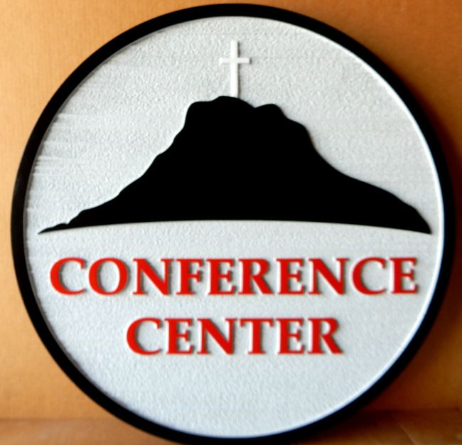 G16335 -  Conference Center Sign with Salvation Army Cross and Mountain Logo