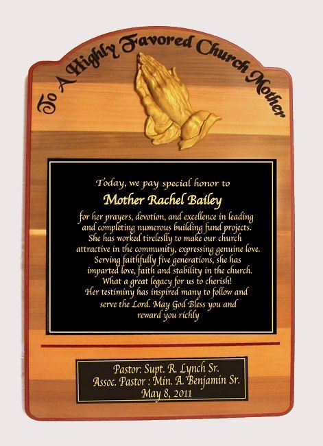 GC16547 - Carved Cedar Wood Memorial Wall Plaque Honoring   Rachel Bailey, a Highly Favored Church Mother