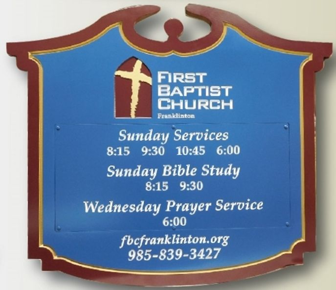 "D13017 - Entrance Sign for the ""First Baptist Church"", Engraved Text with Replaceable Panel for Service Times"