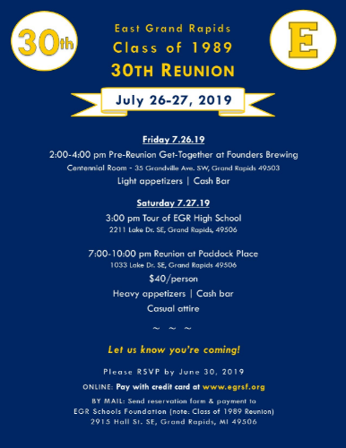 Class of 1989 - 30th Reunion Reservation