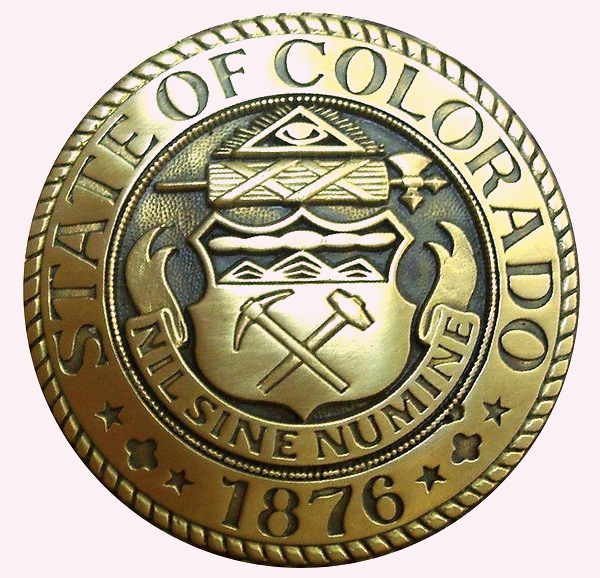W32083 - Carved 3D HDU Wall Plaque of the Seal of the State of Colorado, Brass-Coated with High Polish