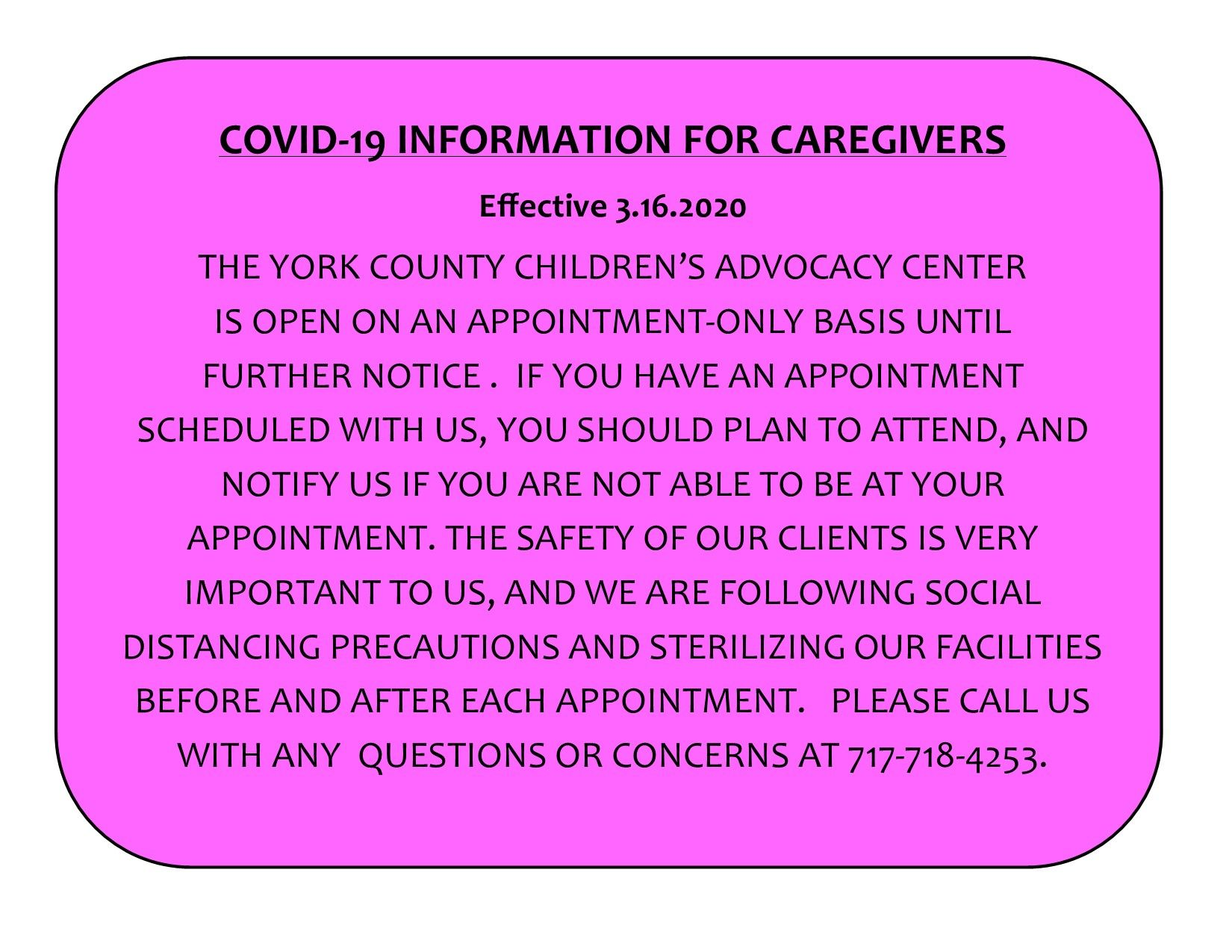 COVID-19 Information for Caregivers