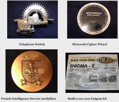 In Jan 2012, Dr. David Kahn donated items to the National Cryptologic Museum Foundation including a telephone switch, a Motorola cipher wheel, a French Intelligence Service medallion, and a Build Your Own Enigma Kit