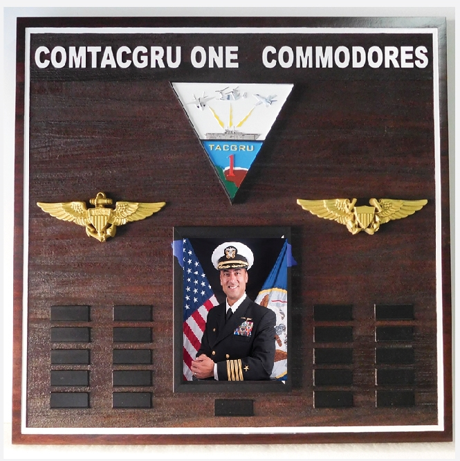WP5200  - Navy  Custom  CONTACGRU Commodores Command Plaque,Stained Cedar with Carved 3D Badges
