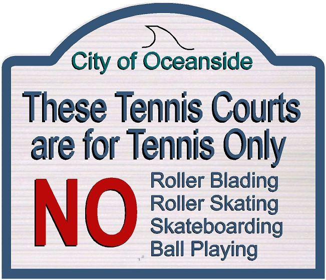 GB16872 -  Carved HDU Tennis Court Entrance  & Rules Sign for City of Oceanside