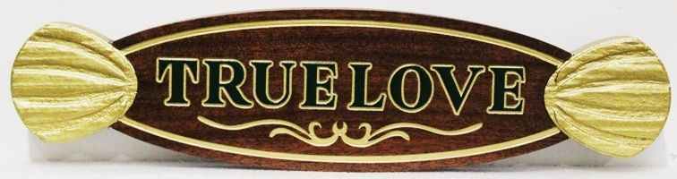 """L21898 - Carved and Engraved  African Mahogany QuarterboardSign """"True Love""""., with 3D Carved Decorations and 24K Gold Leaf as Artwork"""