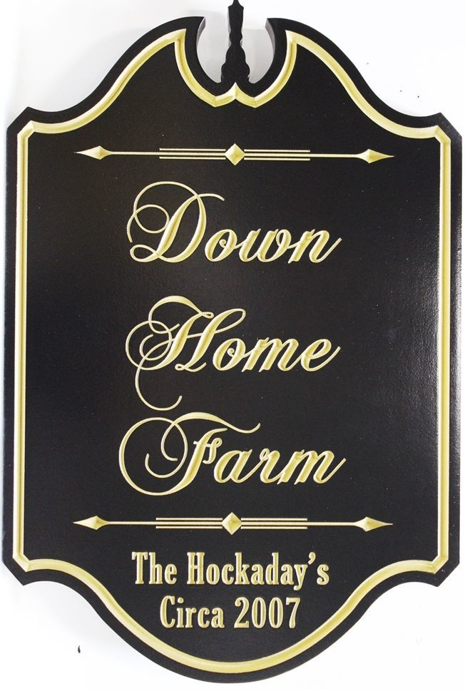 "O24009 -  Carved and Engraved V-carved  HDU Sign for the ""Down Home Farm""., with   24 K  Gold Leaf Gilded Text and Border"