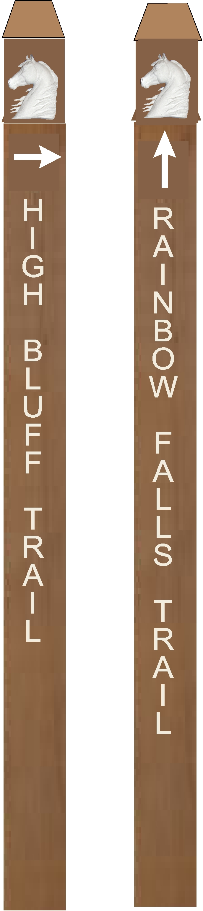 P25502 - Custom Redwood Post Equestrian Trail Markers