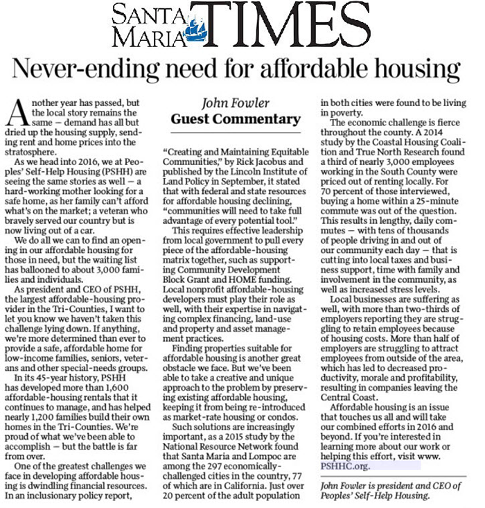 Never-Ending need for affordable housing - Santa Maria Times