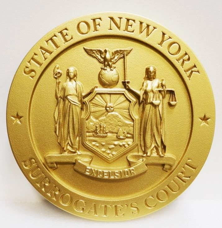 GP-1320 - Carved Plaque of the Seal of the  Surrogate Court, State of New York, Painted Brass Metallic