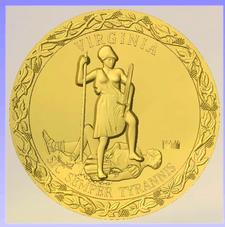 W32512 - 3-D Bas-Relief Carved Wall Plaque of the Seal of the State of Virginia, Gold-Leaf Gilded