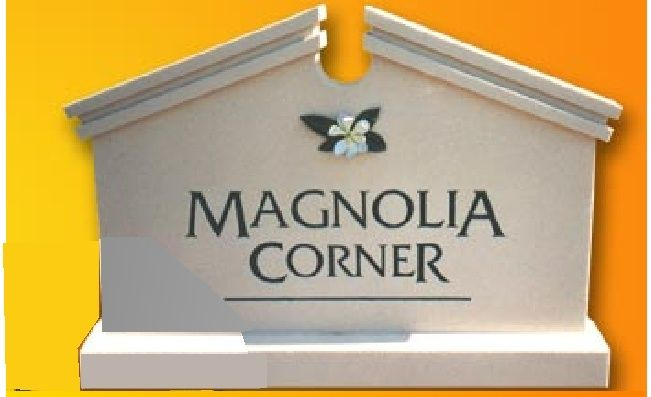 K20020 - EPS Monument Sign for Magnolia Corner with Carved Magnolia