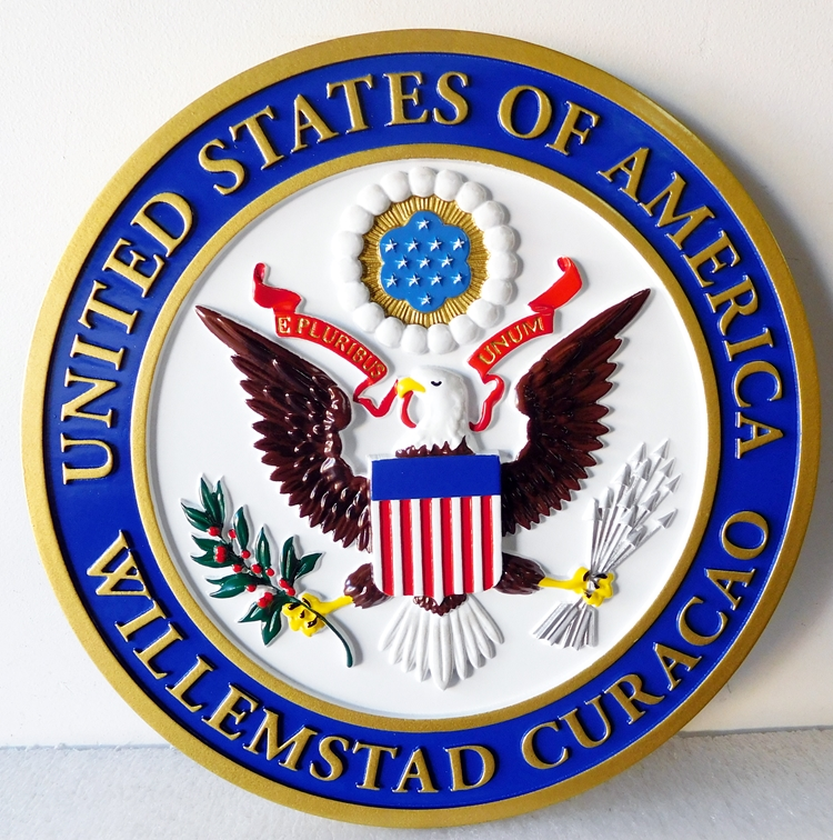 U30310 - Carved 3-D HDU Wall Plaque for the Seal of the US Embassy,Willemstad, Curacao