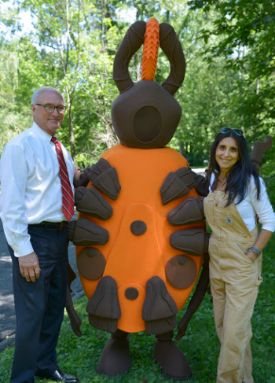 Ridgefield First Selectman Rudy Marconi, Fran the Tick and Dr. Neeta Connally in new prevention video