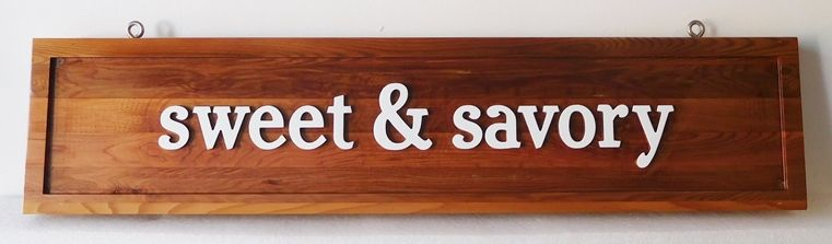 "Q25648 - Variegated Cedar Wood Sign Having the Words ""Sweet and Savory"" for Restaurant"