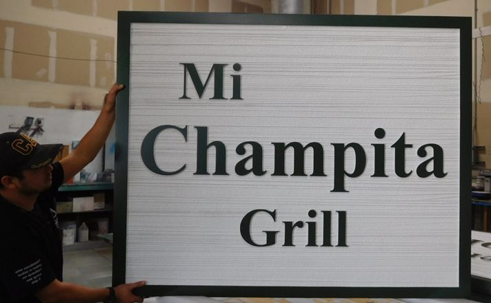 "Q25745 - Carved and Sandblasted Wood Grain Sign  ""Mi Champita Grill""  with 2.5-D  Raised Text"