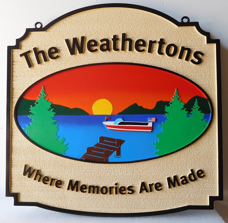 "M22305 - ""The Weathertons"" Lake Residence Sign with Lake, Mountains, Setting Sun, Dock and Boat"