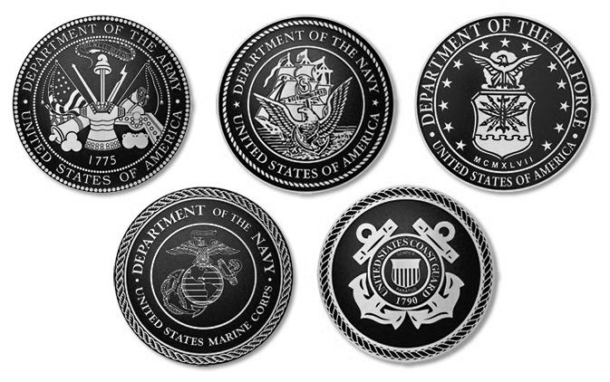 IP-1290 - Set of Plaques of the Seals of Five Armed Forces, Cast Solid Aluminum