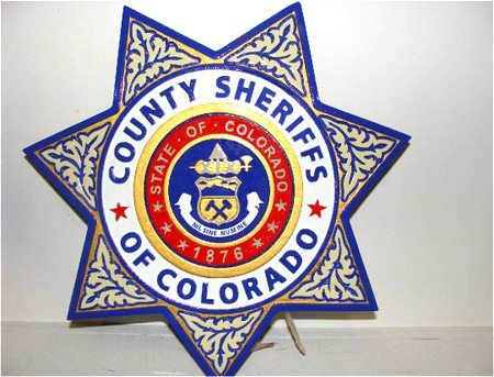 PP-1760 - Carved Wall Plaque of the Star Badge of the County Sheriffs of Colorado,  Artist Painted