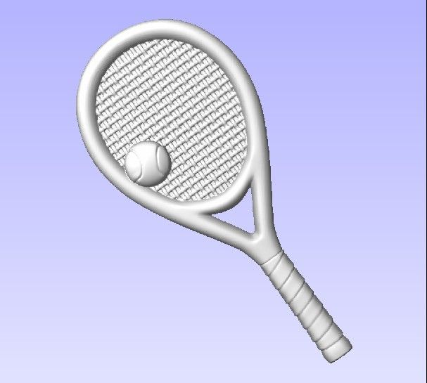 """GB16890 - Carved  3D """"Off the Shelf""""  Tennis Racket & Ball  Applique  for Tennis-themed Sign"""