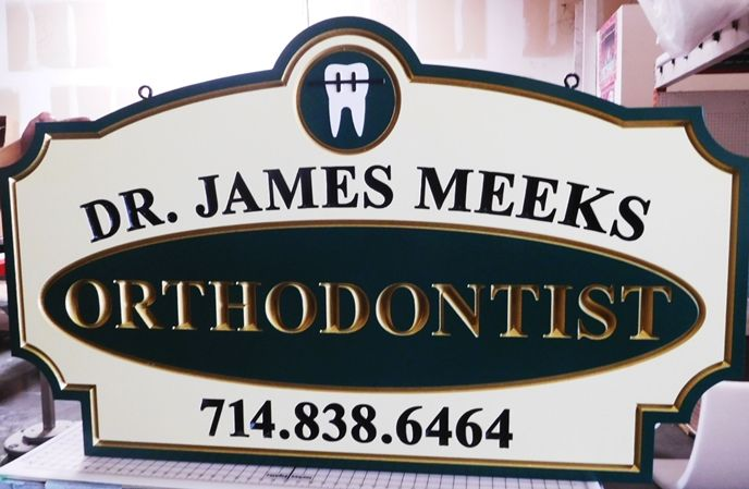 "BA11548 - Carved Engraved HDU Sign for the Office of ""Dr. James Meeks - Orthodontics"", 2.5-D Artist-Painted"