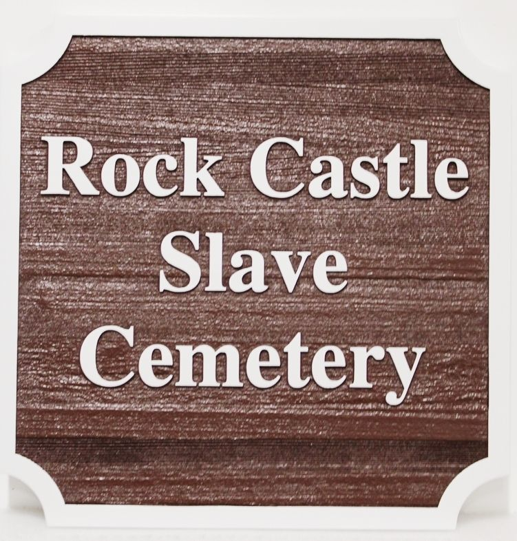 GC16430 - Carved  2.5-D Sign for the Rock Castle Slave Cemetery, Made of Western Red Cedar Wood.