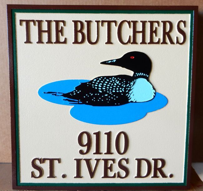 I18514 - Residence Name and Address Sign, with Swimming Loon as Artwork