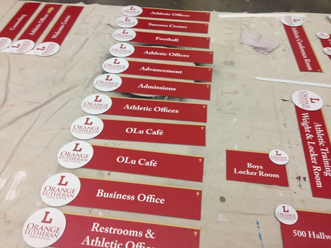 Interior wayfinding signs for schools in Orange County