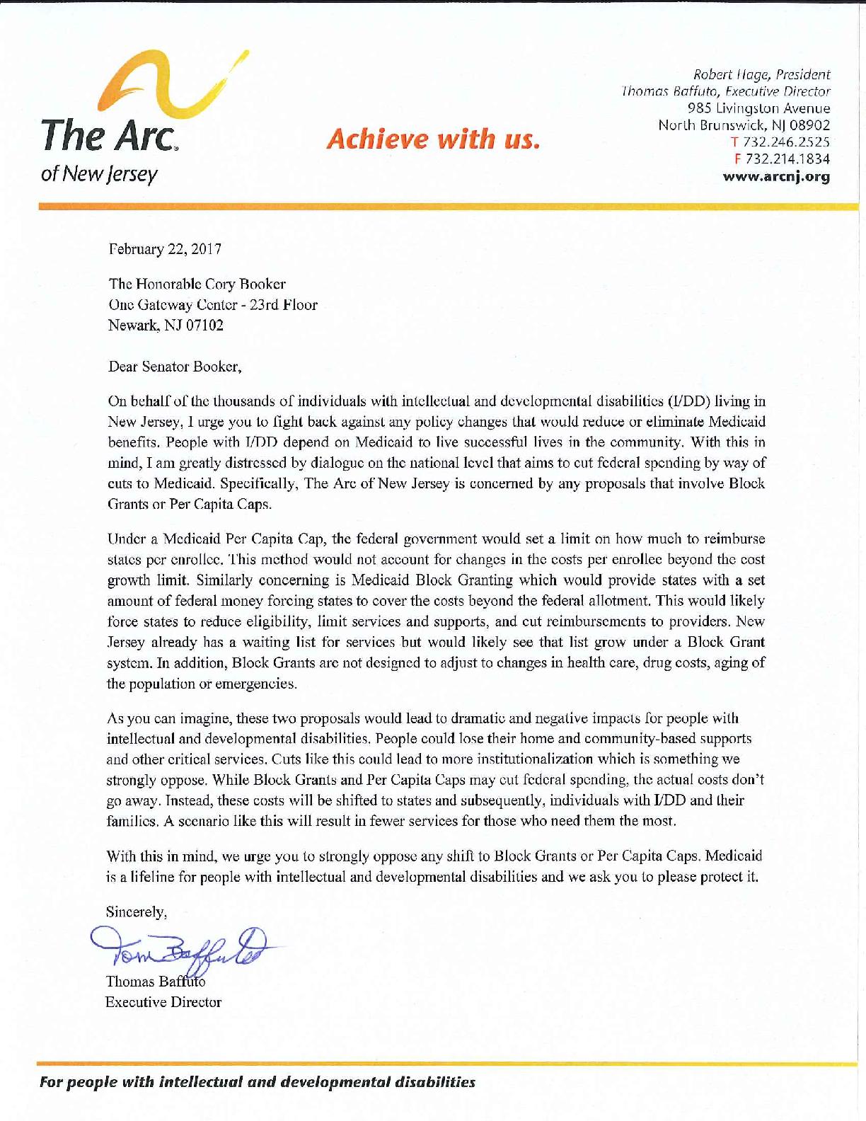 Letter to NJ's US Senators - 06.14.17