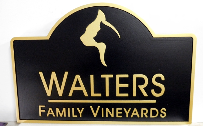 R27007 -  Carved 2.5-D  High-Density-Urethane (HDU) Walters Family Vineyatd Sign