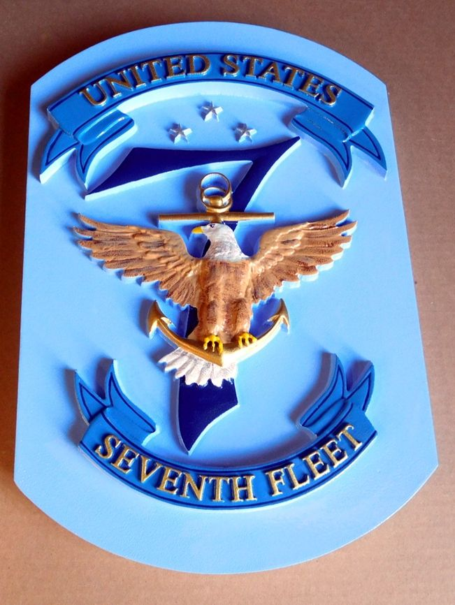JP-1230 - Carved Plaque of the Seal/Crest of the US Navy's Seventh Fleet, Artist Painted