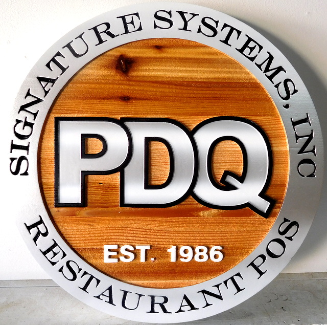 """SA28711 - Carved Western Red Cedar Sign for the  """"PDQ Signature Systems, Inc. """" Company."""
