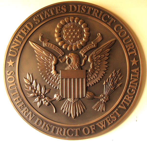 U30144 -  Carved 3-D Bronze Wall Plaque for the US District Court, Southern District of West Virginia, with American Eagle