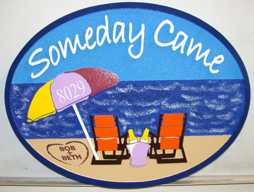 "L21467 - Beachhouse Address Sign ""Someday Came"" with Two Chairs and Umbrella"