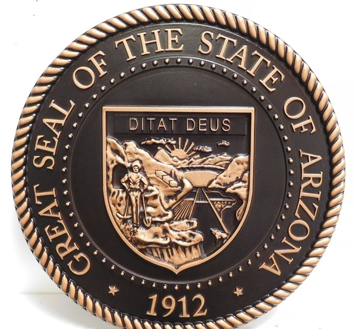 M7040 – 3-D Bronze-Coated Carved HDU Wall Plaque  of the Great Seal of the State of Arizona