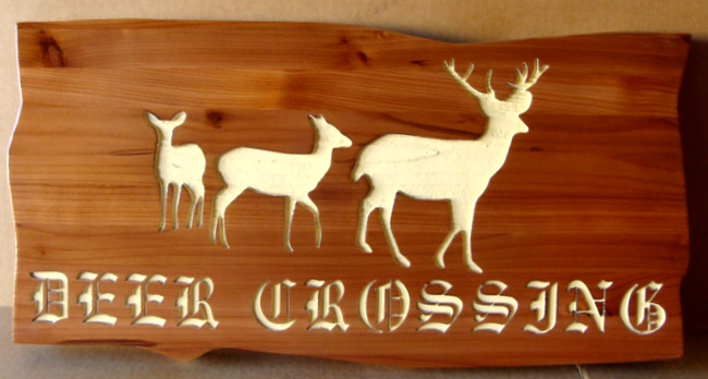 M22623 - Deer Crossing Cedar Sign, with Silhouettes of 3 Engraved Deer