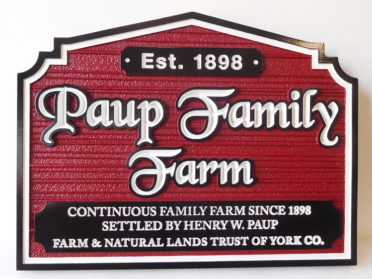 "O24040 - Carved HDU  Entrance sign for  the ""Paup Family Farm"" , Founded in 1898, with sandblasted Wood Grain Background"