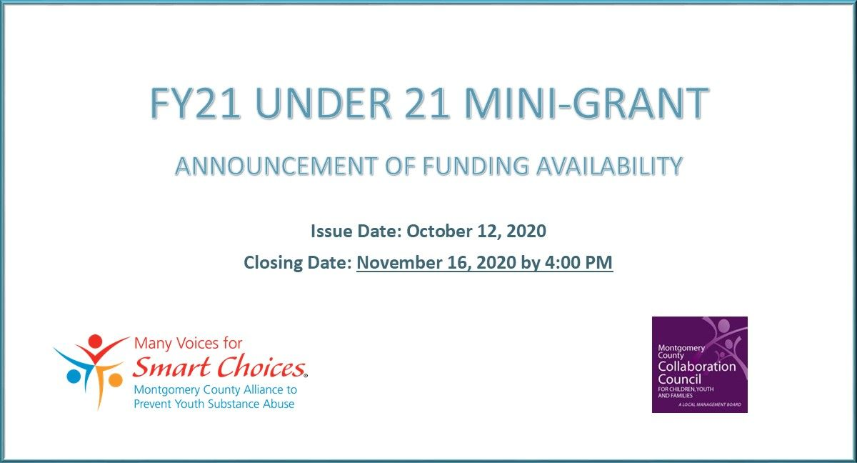 Under 21 Mini-Grant Funding now available for FY21