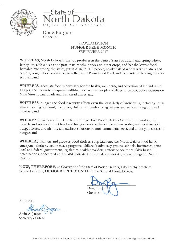 Governor Burgum officially declares September Hunger Free Month