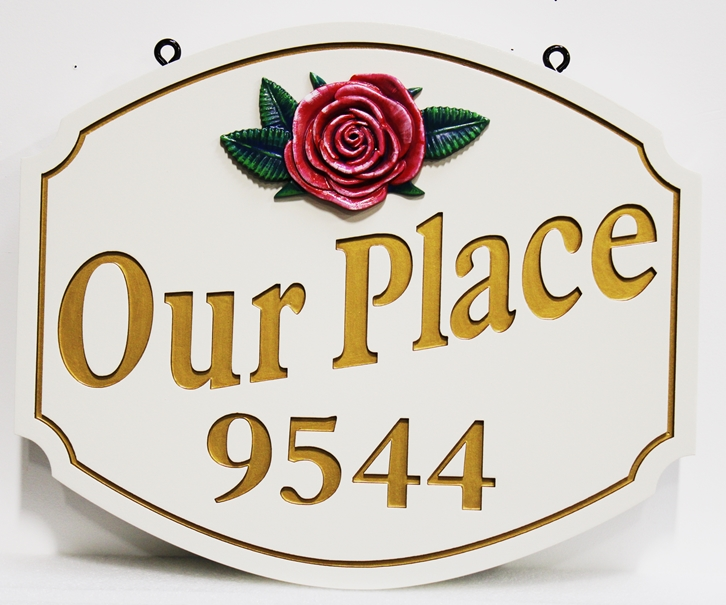 I18225 - Carved and Sandblasted 2.5-D Address Sign, with White Flower