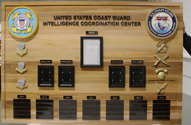 NP-2428 - Carved Cedar Command Board for Coast Guard Intelligence Coordination  Center, with Photos, Engrqaved Name Plates, and Carved 3-D Seals, Emblems and Insignia