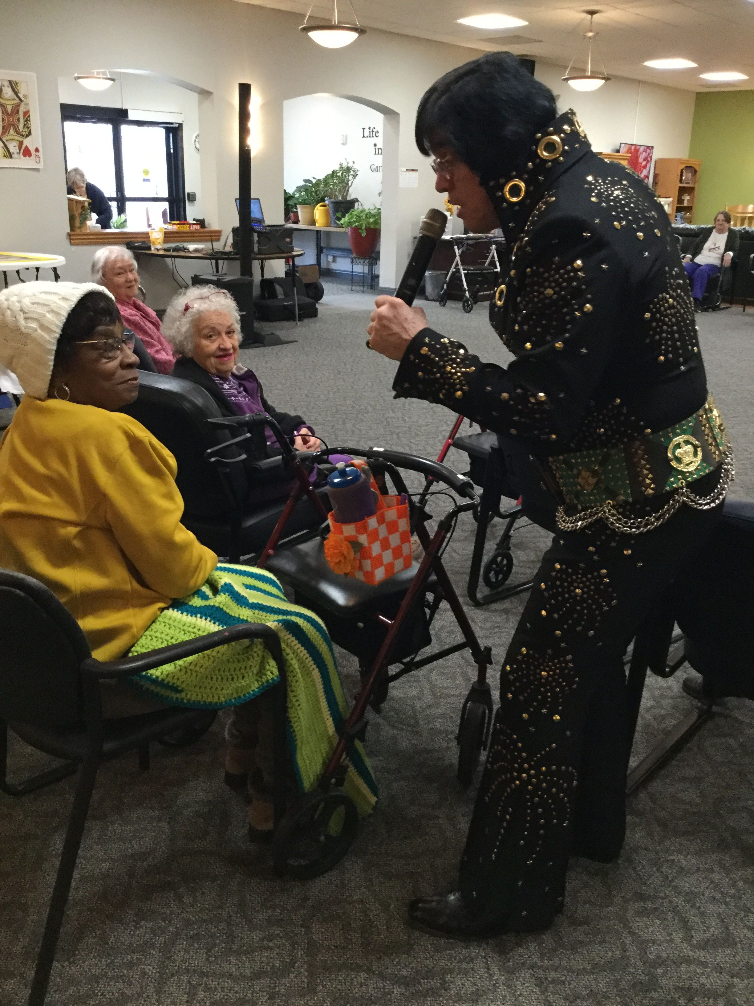 Elvis sings to our Adult Day Center member Shirley.
