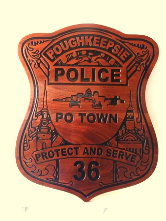 PP-1545 - Engraved Wall Plaque of the Police  Badge of  Poughkeepsie, N. Y. ,  Cedar Wood