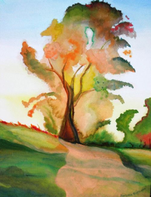"Rosemary Lane, watercolor, 10-1/8"" x 13-3/4"""