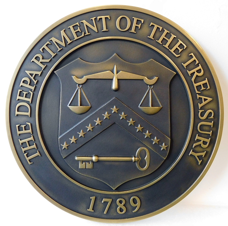 U30180 - Department of the Treasury Seal Carved 3-D Brass-Coated Wall Plaque, with Dark Bronze Patina
